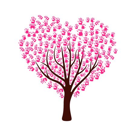 Tree made from pink color hand prints in heart shape leaves. for Valentine card, Vector illustration Vectores