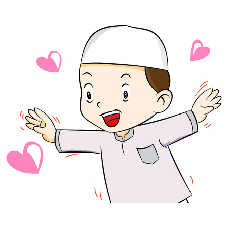 Illustration of Happy muslim boy with heart shape, isolated on white background, Vector Illustration
