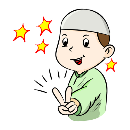 Illustration of Happy muslim boy showing victory gesture sign, isolated on white background, Vector Illustration Çizim