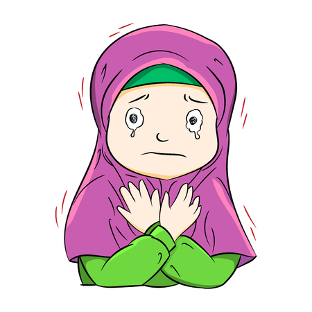 Illustration of crying muslim girl, isolate on white background. Vector Illustration