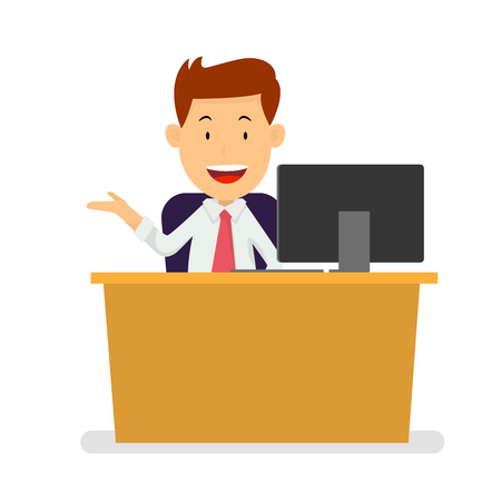 Businessman sitting at workplace with bright ligh bulb for successful business idea concept, cartoon flat design style. Vector Illustration