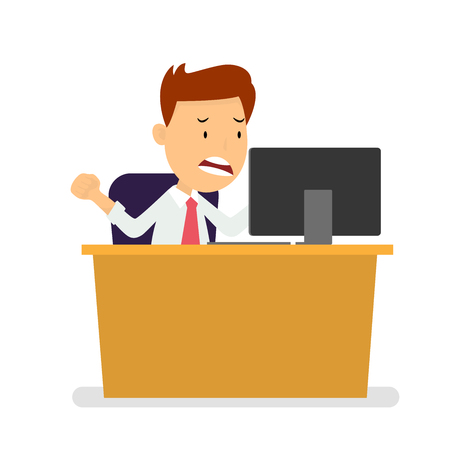 Angry Businessman sitting at workplace watching laptop isolated on white background, Cartoon Flat style, Vector Illustration