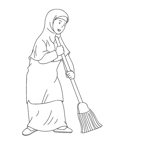 Muslim woman sweeping with broom to clean home, Coloring book design for kids and children. Hand drawn illustration