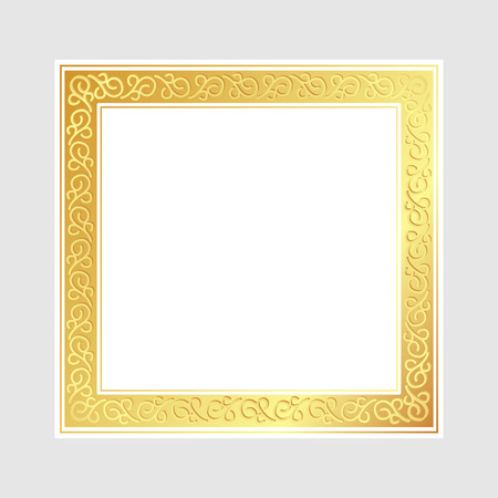 Luxury shiny glowing vintage frame, Golden square Ornament frame and space for text, Vector Illustration Çizim
