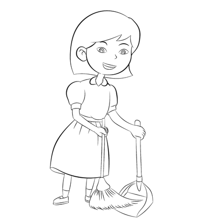 Good girl sweeping with broom to clean home, Coloring book design for kids and children. Hand drawn illustration