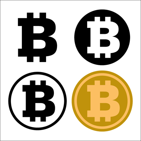 Set of Bitcoin symbol icon. isolated on white background, for business and finance concept. Vector Iconic Illustration