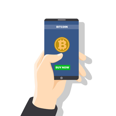 Hand holding smartphone with bitcoin icon on screen with golden coin, wallet, button pay. Pay per click by virtual currency, for business, web banners, sites design, Online bitcoin payment concept. Vector Illustration Çizim