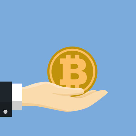 Businessman hand holding golden coin, for business, web banners, sites design, Online bitcoin payment concept. Vector Illustration, Flat style Vector Illustration