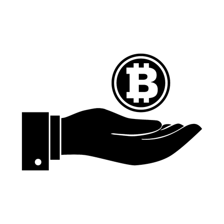 Businessman hand holding bitcoin coin isolated on background, for business, web banners, sites design, Online bitcoin payment concept. Vector Illustration, Flat style Vector Iconic Illustration Çizim