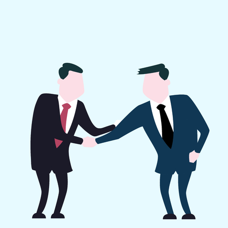 Business man shaking hand, for unity business concept - Flat Vector Illustration