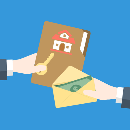 Businessman Hand gives key to other hand with money cash for home, for Real Estate Concept-Vector flat design