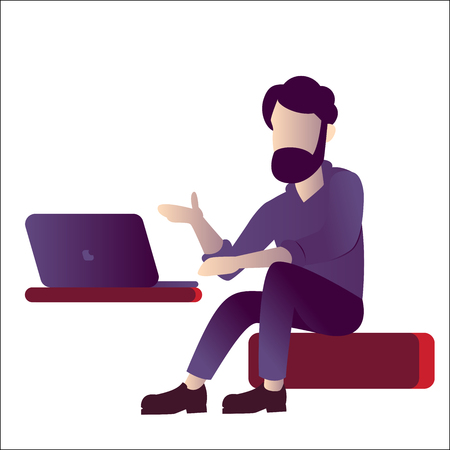 Programmer or IT Specialist lecture with laptop, for business education, freelance. Vector Illustration Çizim