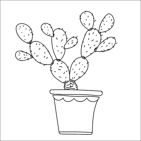 Cactus hand drawn style, isolate on white background, for kids, children coloring book, plant and education concepts. Vector Illustration