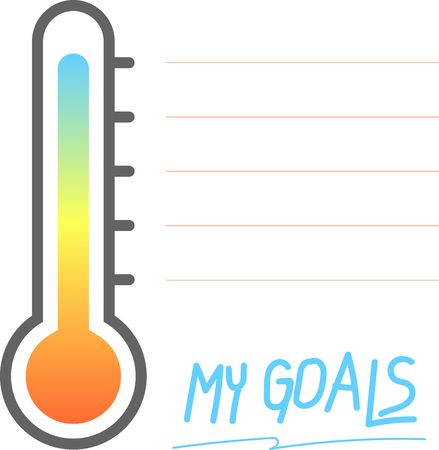 My goals printable with Thermometer sign, Trendy self-organization concept . Vector Illustration