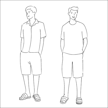 Men standing for summer fashion style, Company colleagues stand with confident expression. Hand drawn vectior Illustration Çizim