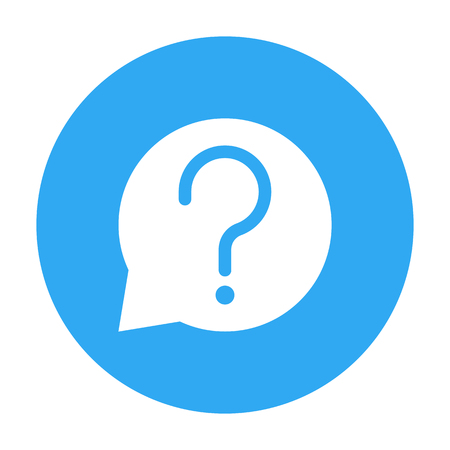 Bubble chat with question sign in Blue Circle isolated on white background - vector iconic design Çizim