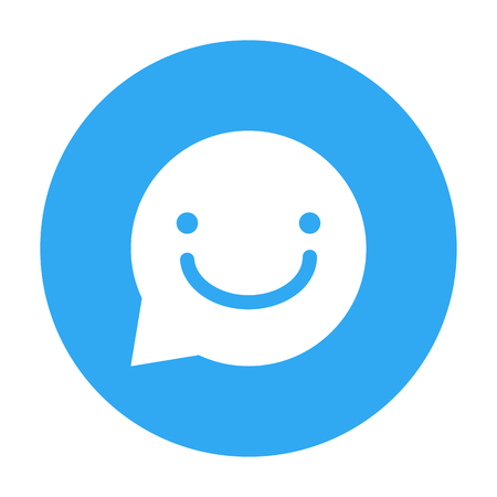 Bubble chat with smily sign in Blue Circle isolated on white background - vector iconic design
