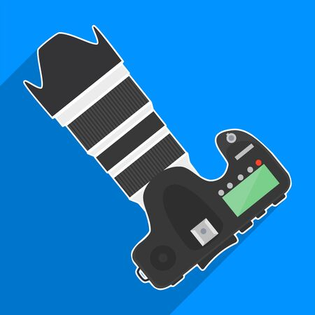 Professional dslr camera top view vector illustration in flat style with long shadow on blue background.