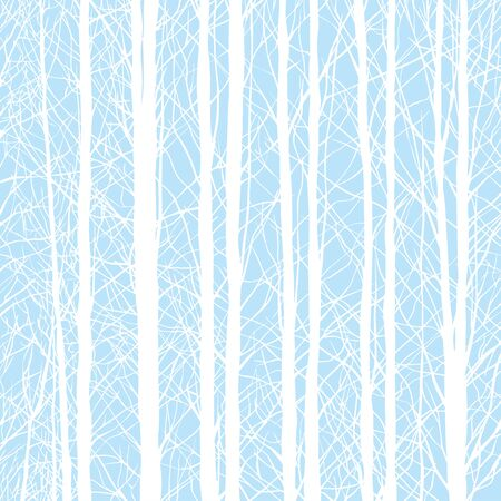 Forest Winter trees Background, trees without leaves on blue background - Vector Illustration.
