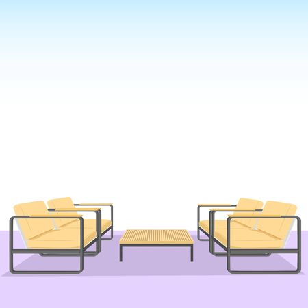 Wooden Chairs and table on blue gradient background. Living room interior design. Vector Illustration Illusztráció