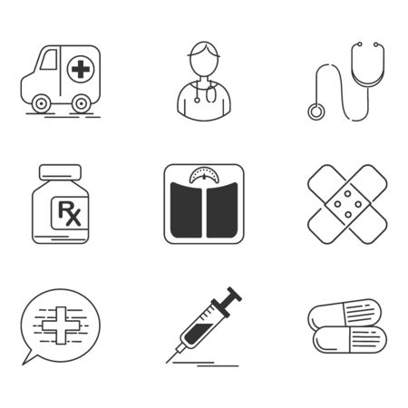 Medical icons set, Simple linear style contain as health, ambulance, cross, pill, syringe - vector iconic symbol.
