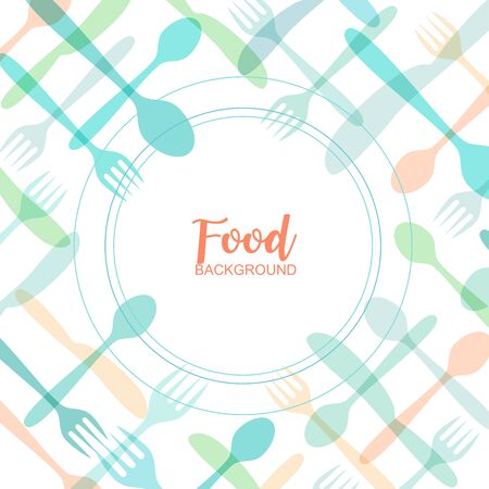 Spoon and forks Cute Cutlery Abstract background with multicolored kitchen items - Vector Illustration.