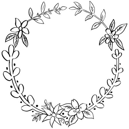 Floral wreath with leaves, branches,  isolate on white background, Ink drawing, frame element doodle style, hand drawn vector illustration.