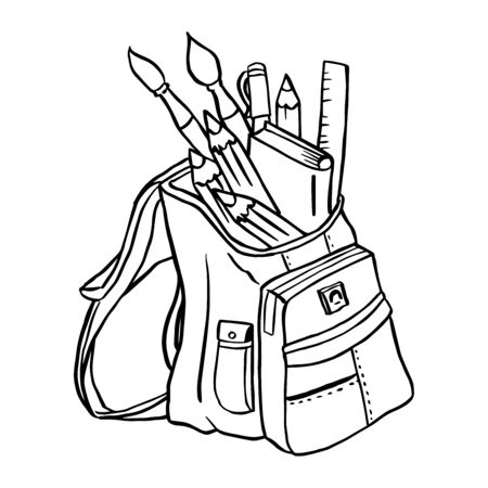 Backpack packed with school items isolated on white background, school bag, student supplies, sketch doodle style, for back to school - Hand drawn Vector Illustration.