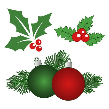 Set of Christmas decorations with red and green balls, fir-tree branches, Holly, red berries, Christmas bubble isolated on white background. Vector Illustration.