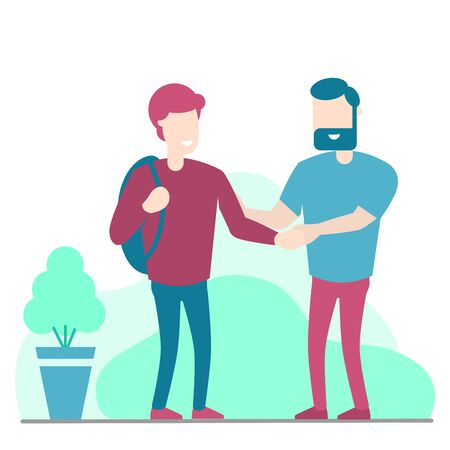 Two man handshake isolated on white background, young man and man with beard are shaking hand,  business porters a successful team. For business concept - Vector illustration.