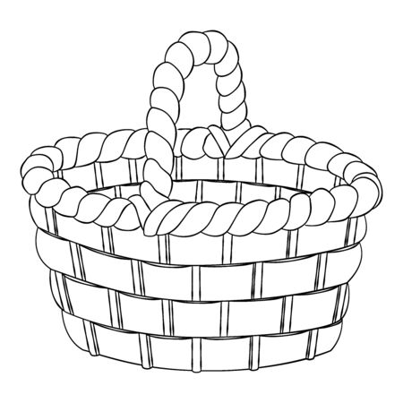 Aged willow bast bread pottle, basket isolated on white background, for colouring book - hand drawn Vector Illustration. Stock Illustratie