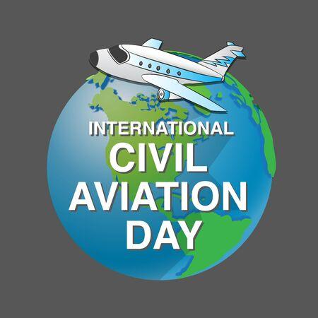 International Civil Aviation Day, air plane on globe for banner or poster - Vector Illustration