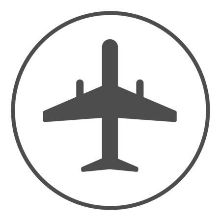 Airplane icon, plane symbol flat label in circle - vector symbol illustration