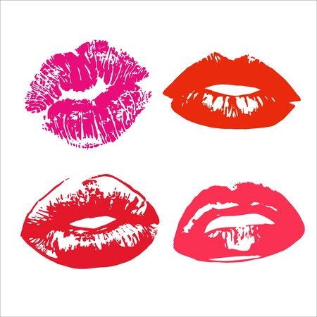 Lipstick kiss print isolated on white background. red and pink lips set. Different shapes of female sexy red lips. Sexy lips makeup, kiss mouth - Vector Illustration.