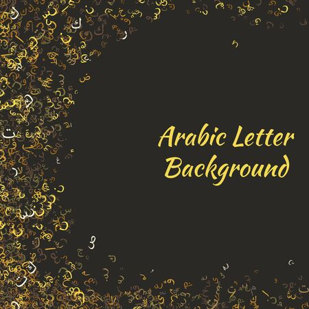 Elegant Abstract Background Random Arabic Letters with no particular meaning. Vector Background Illustration.