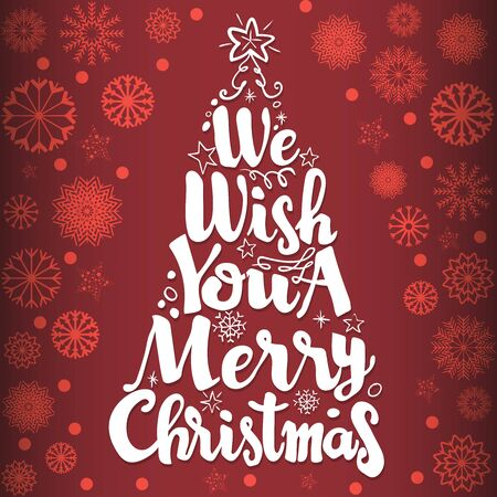 """Elegant Christmas background with gold snowflakes, with text """" We wish you a merry Christmas"""" on red background- Vector Illustration"""