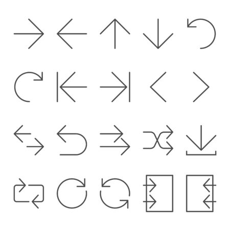Arrow vector icon set in thin line style, for website and app. Editable stroke
