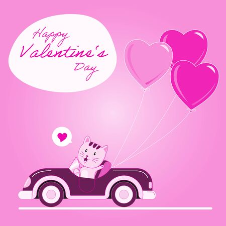 The cute cat driving a car with heart balloon in the pink background and  - Vector Illustration