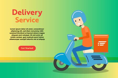 Delivery Boy Ride Scooter Motorcycle Service for online delivery service concept, web landing page, ui, mobile app, banner template - Vector Illustration.