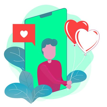 A man giving heart balloon from smart phone for Valentine Day, Birthday, Online shopping - Flat Vector Illustration.