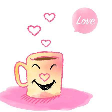 Cup of hot smile coffee, watercolor style with cartoon doodle hand drawn for Valentine day, romantic card or web banner - vector illustration Çizim