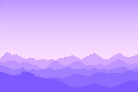 Violet mountain landscape with fog and forest by different levels,- vector illustration
