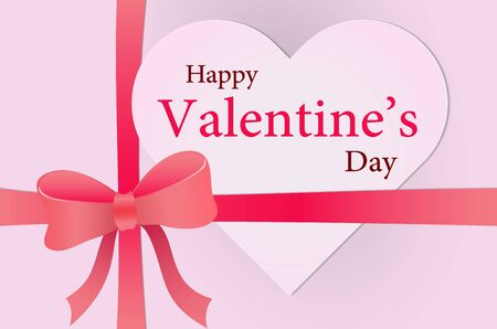 Happy Valentine Day on Heart shape paper for greeting cards and poster on gift box and bow - Vector Illustration.