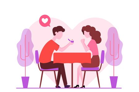 Man giving box diamond ring, offer marry girlfriend, romantic engagement after dinner. Surprise Proposal, Dating, love relationship concept for valentine day greeting card and web banner design - Vector Illustration.