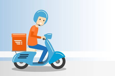 Delivery Boy Ride Scooter Motorcycle Service with copy space - Vector Illustration. Çizim