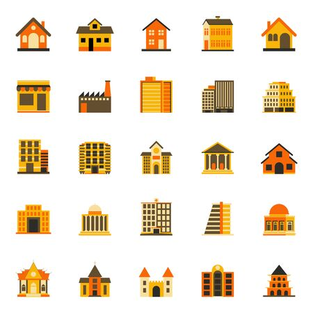 Buildings flat icon, colourful flat design icon set, template for web and mobile applications - Iconic Vector Illustration