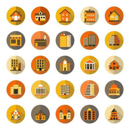 Buildings flat icon with long shadow, colourful flat design icon set, template for web and mobile applications - Iconic Vector Illustration Çizim