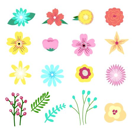 Set of Adorable floral, flower element in modern graphic style. Design for Journal Notebook, greeting card, printable planner, diaries, poster and other paper design - Vector illustration. 