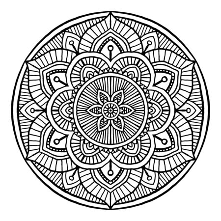 Outline Mandala decorative round ornament, can be used for coloring book, anti-stress therapy, greeting card, phone case print, etc. Hand drawn style isolated on white background - Vector Oriental Ornament.