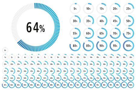 Set di cerchio 0-100 diagramma percentuale pronto per l'uso per infografica, web design e ux, ui, con linea blu- illustrazione vettoriale